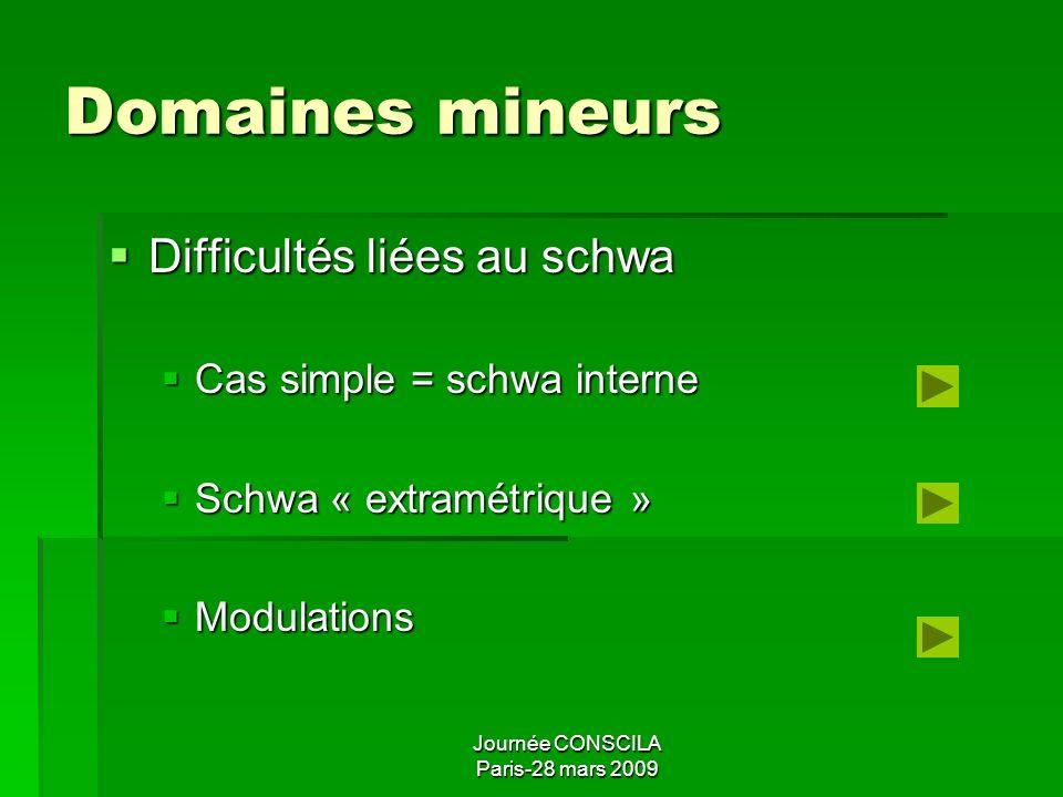 Journée CONSCILA Paris-28 mars 2009 Domaines mineurs Cas typiques Cas typiques Unipolaires = un seul accent Unipolaires = un seul accent Bipolaires =