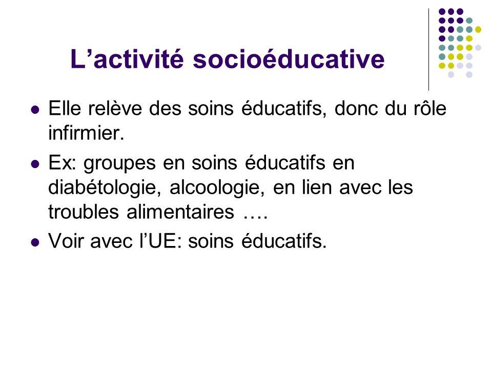 Lactivité socioéducative Elle relève des soins éducatifs, donc du rôle infirmier. Ex: groupes en soins éducatifs en diabétologie, alcoologie, en lien