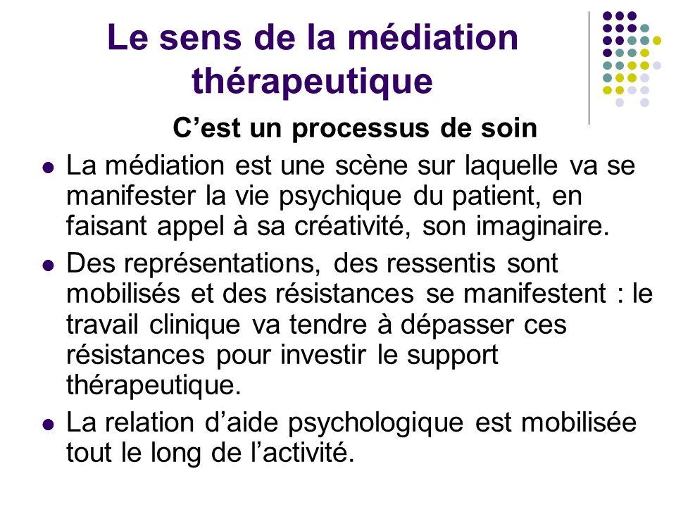 Le sens de la médiation thérapeutique Cest un processus de soin La médiation est une scène sur laquelle va se manifester la vie psychique du patient,