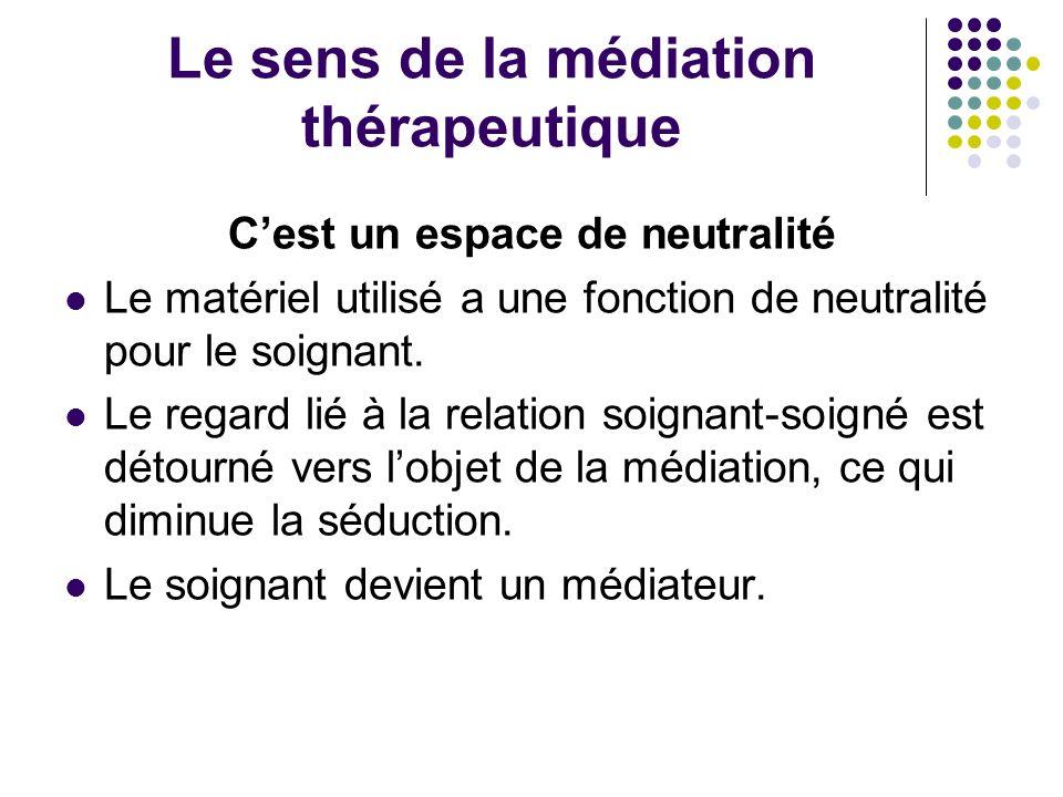 Le sens de la médiation thérapeutique Cest un espace de neutralité Le matériel utilisé a une fonction de neutralité pour le soignant. Le regard lié à