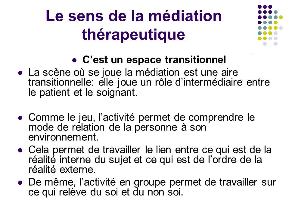 Le sens de la médiation thérapeutique Cest un espace transitionnel La scène où se joue la médiation est une aire transitionnelle: elle joue un rôle di