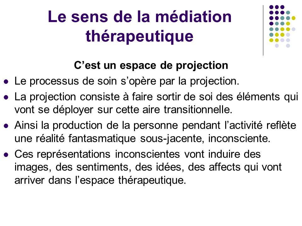 Le sens de la médiation thérapeutique Cest un espace de projection Le processus de soin sopère par la projection. La projection consiste à faire sorti