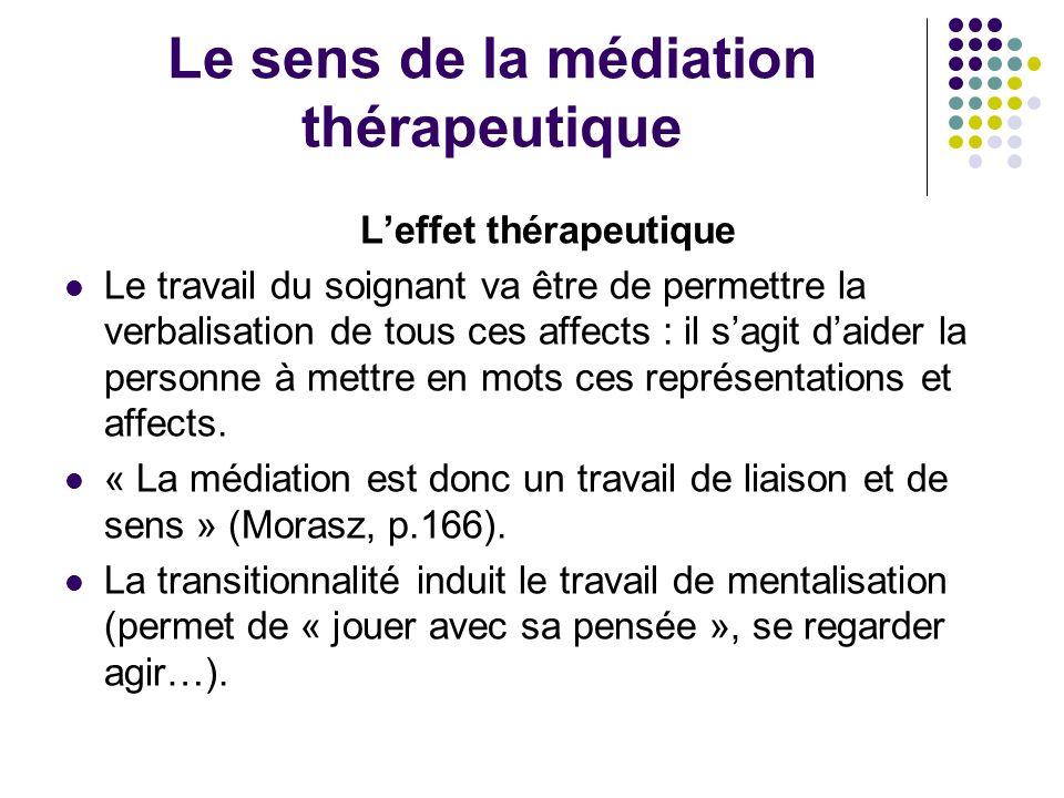 Le sens de la médiation thérapeutique Leffet thérapeutique Le travail du soignant va être de permettre la verbalisation de tous ces affects : il sagit