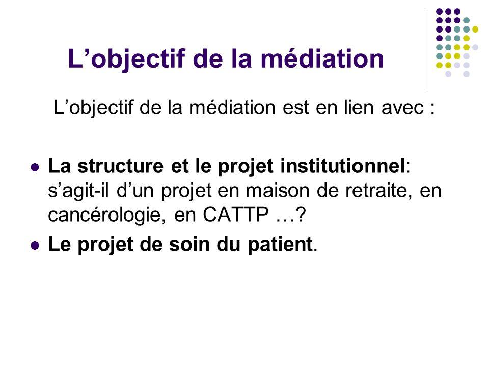 Lobjectif de la médiation Lobjectif de la médiation est en lien avec : La structure et le projet institutionnel: sagit-il dun projet en maison de retr