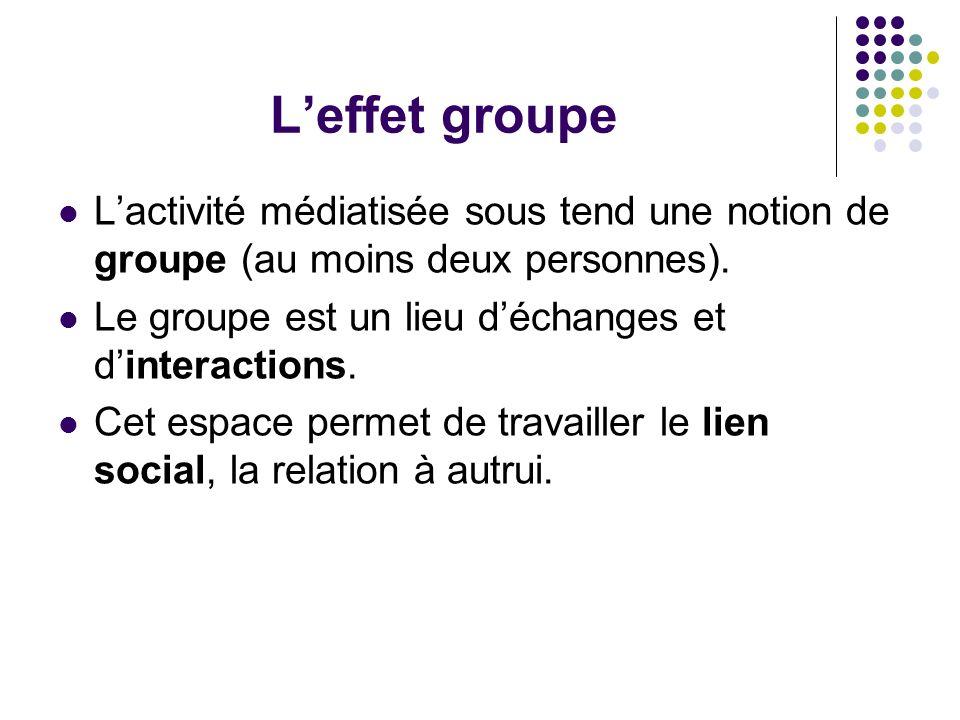 Leffet groupe Lactivité médiatisée sous tend une notion de groupe (au moins deux personnes). Le groupe est un lieu déchanges et dinteractions. Cet esp