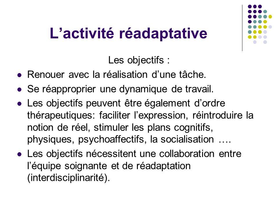 Lactivité réadaptative Les objectifs : Renouer avec la réalisation dune tâche. Se réapproprier une dynamique de travail. Les objectifs peuvent être ég