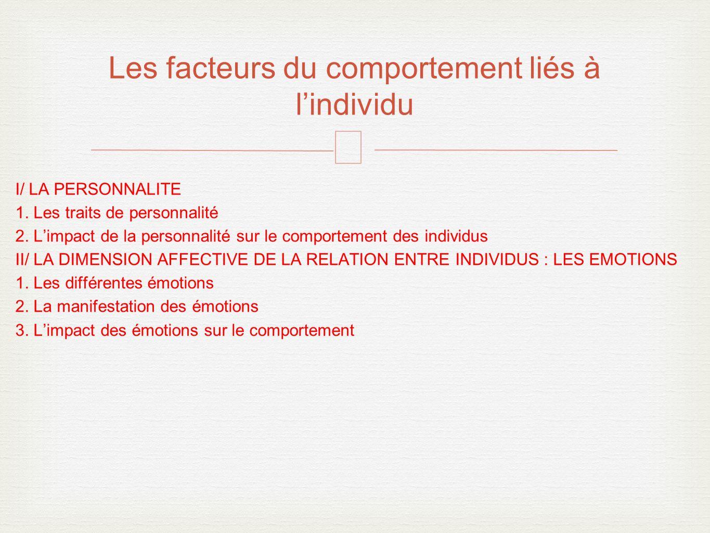 – I/ LA PERSONNALITE 1.Les traits de personnalité 2.