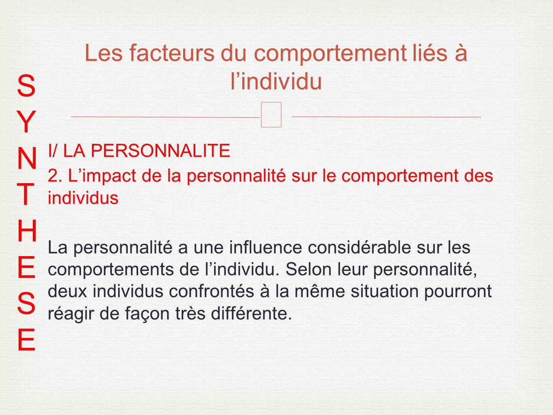 – I/ LA PERSONNALITE 2. Limpact de la personnalité sur le comportement des individus La personnalité a une influence considérable sur les comportement