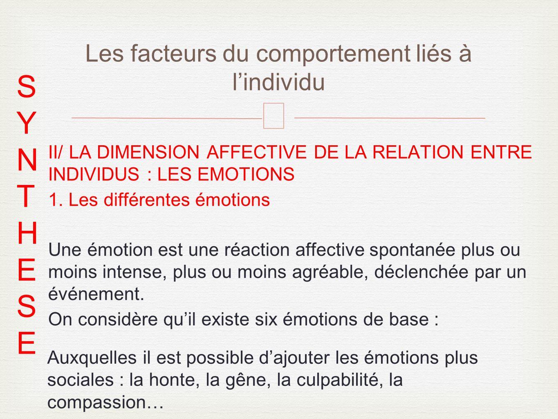 – II/ LA DIMENSION AFFECTIVE DE LA RELATION ENTRE INDIVIDUS : LES EMOTIONS 1. Les différentes émotions Une émotion est une réaction affective spontané