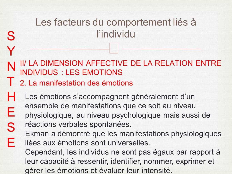 – II/ LA DIMENSION AFFECTIVE DE LA RELATION ENTRE INDIVIDUS : LES EMOTIONS 2.