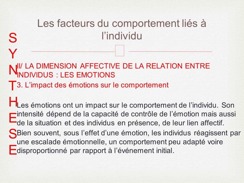 – II/ LA DIMENSION AFFECTIVE DE LA RELATION ENTRE INDIVIDUS : LES EMOTIONS 3.