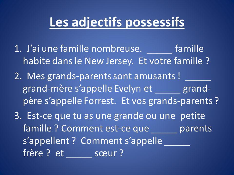 Les adjectifs possessifs 1. Jai une famille nombreuse. _____ famille habite dans le New Jersey. Et votre famille ? 2. Mes grands-parents sont amusants