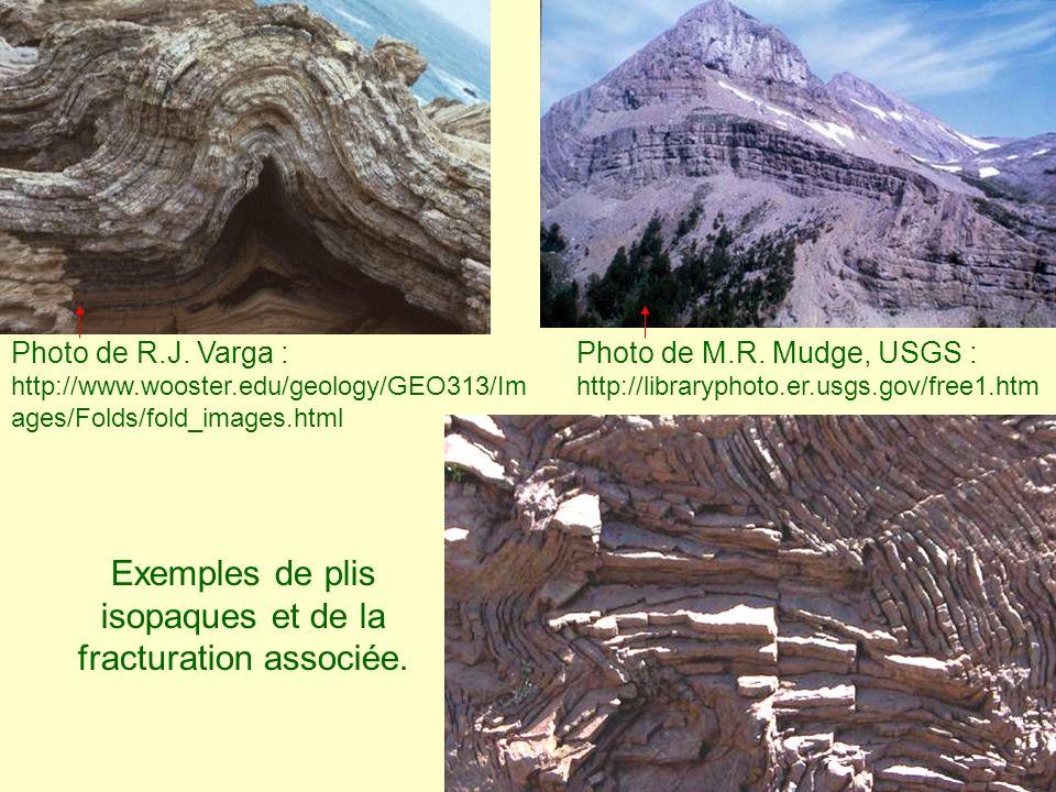 Exemples de plis isopaques et de la fracturation associée. Photo de M.R. Mudge, USGS : http://libraryphoto.er.usgs.gov/free1.htm Photo de R.J. Varga :