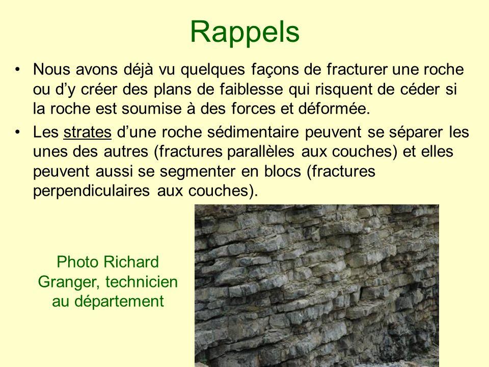 Photo Richard Granger, technicien au département Rappels Nous avons déjà vu quelques façons de fracturer une roche ou dy créer des plans de faiblesse