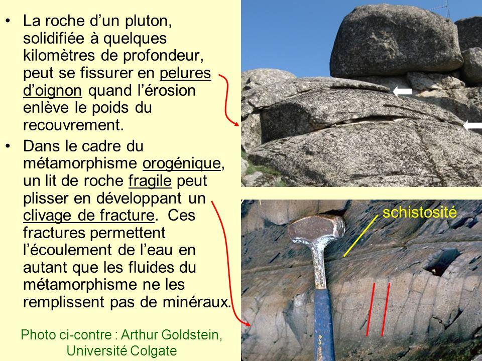 La roche dun pluton, solidifiée à quelques kilomètres de profondeur, peut se fissurer en pelures doignon quand lérosion enlève le poids du recouvremen
