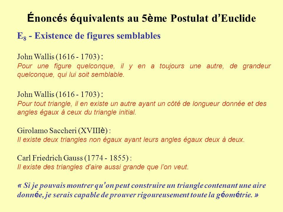 É nonc é s é quivalents au 5 è me Postulat d Euclide E 8 - Existence de figures semblables John Wallis (1616 - 1703) : Pour une figure quelconque, il