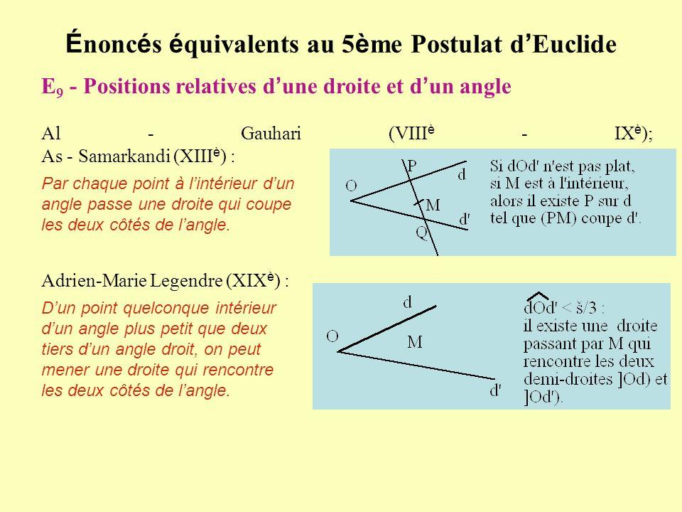 É nonc é s é quivalents au 5 è me Postulat d Euclide E 9 - Positions relatives d une droite et d un angle Al - Gauhari (VIII è - IX è ); As - Samarkan