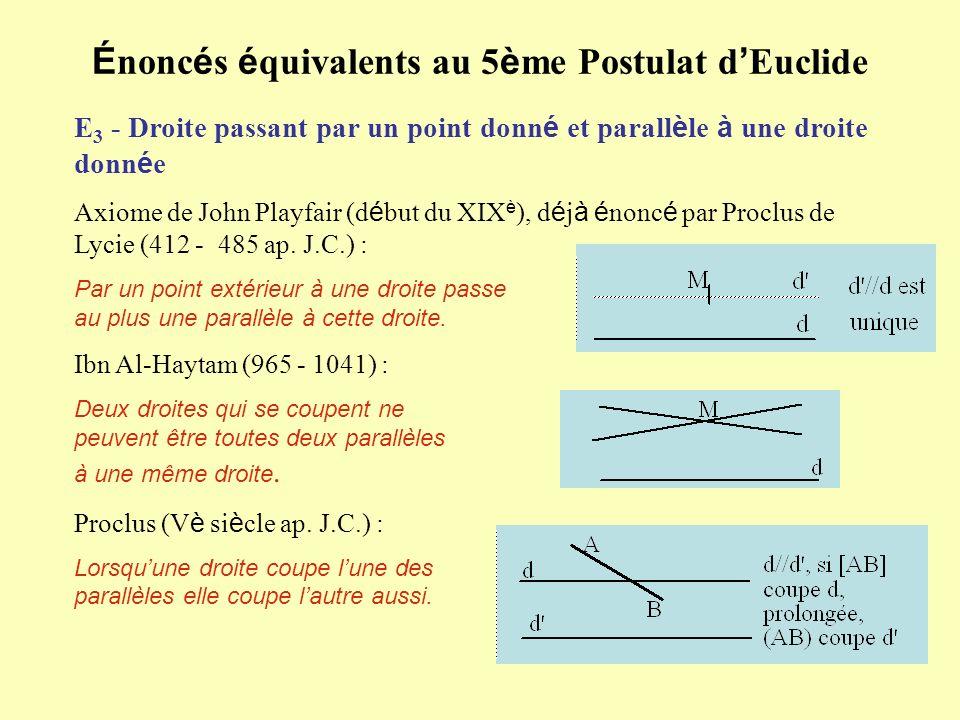 É nonc é s é quivalents au 5 è me Postulat d Euclide E 3 - Droite passant par un point donn é et parall è le à une droite donn é e Axiome de John Play