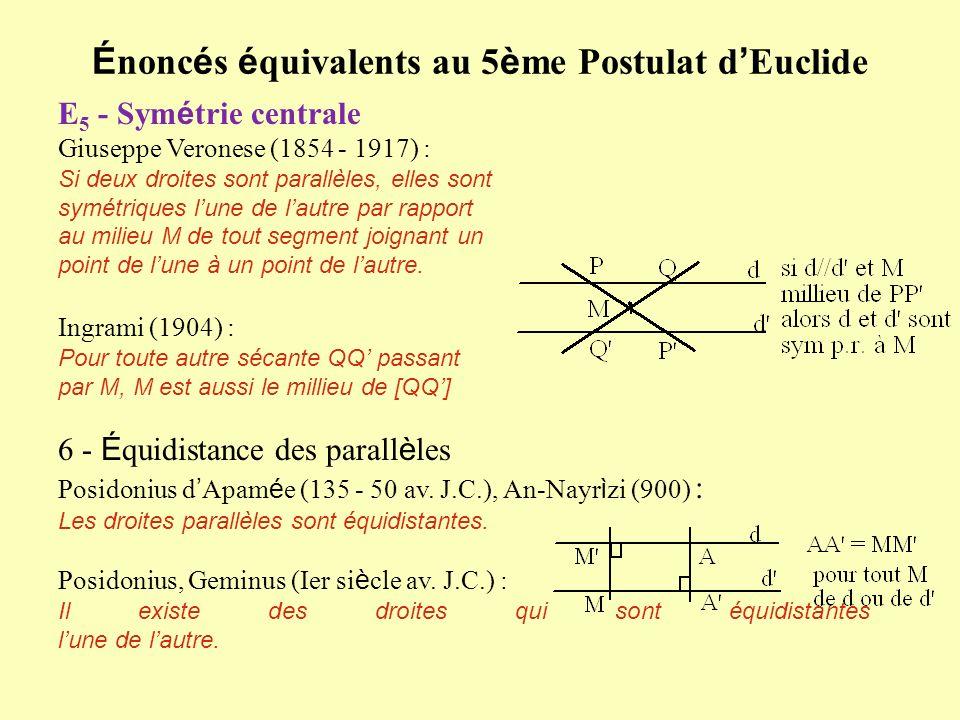 É nonc é s é quivalents au 5 è me Postulat d Euclide E 5 - Sym é trie centrale Giuseppe Veronese (1854 - 1917) : Si deux droites sont parallèles, elle