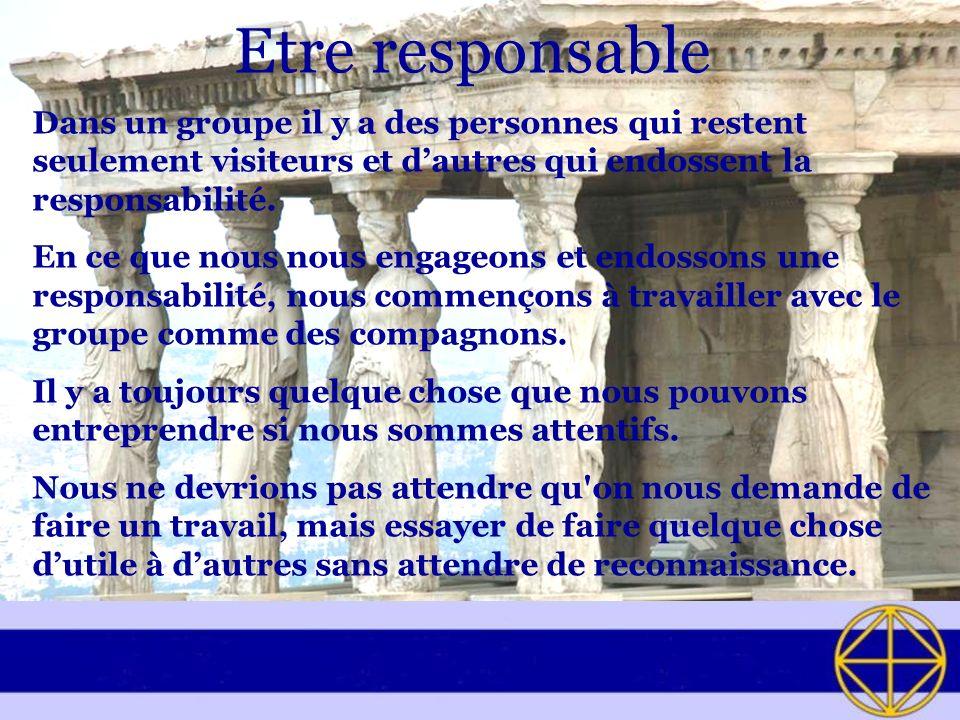 Etre responsable Dans un groupe il y a des personnes qui restent seulement visiteurs et dautres qui endossent la responsabilité. En ce que nous nous e