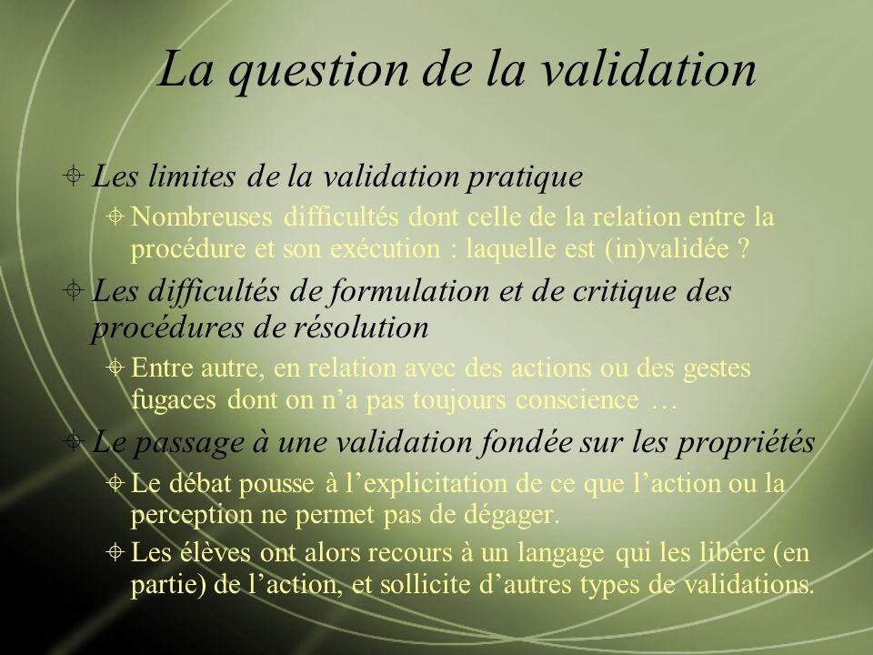 Les limites de la validation pratique Nombreuses difficultés dont celle de la relation entre la procédure et son exécution : laquelle est (in)validée .