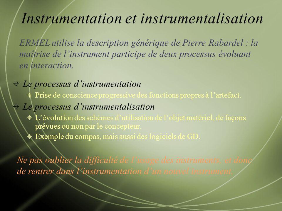 Le processus dinstrumentation Prise de conscience progressive des fonctions propres à lartefact.