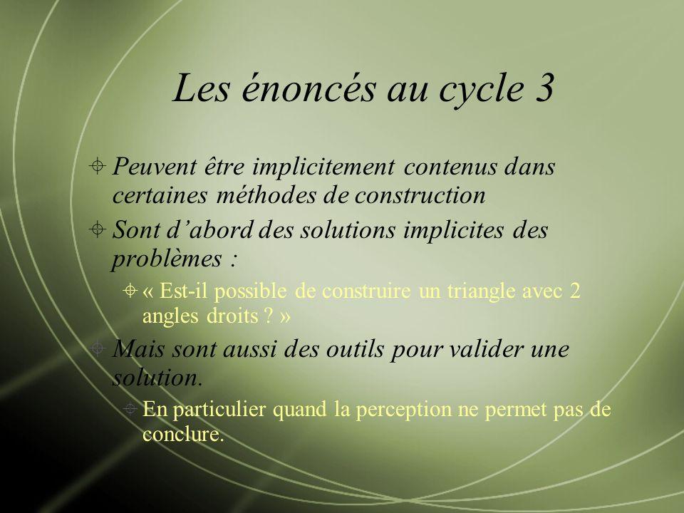 Les énoncés au cycle 3 Peuvent être implicitement contenus dans certaines méthodes de construction Sont dabord des solutions implicites des problèmes : « Est-il possible de construire un triangle avec 2 angles droits .