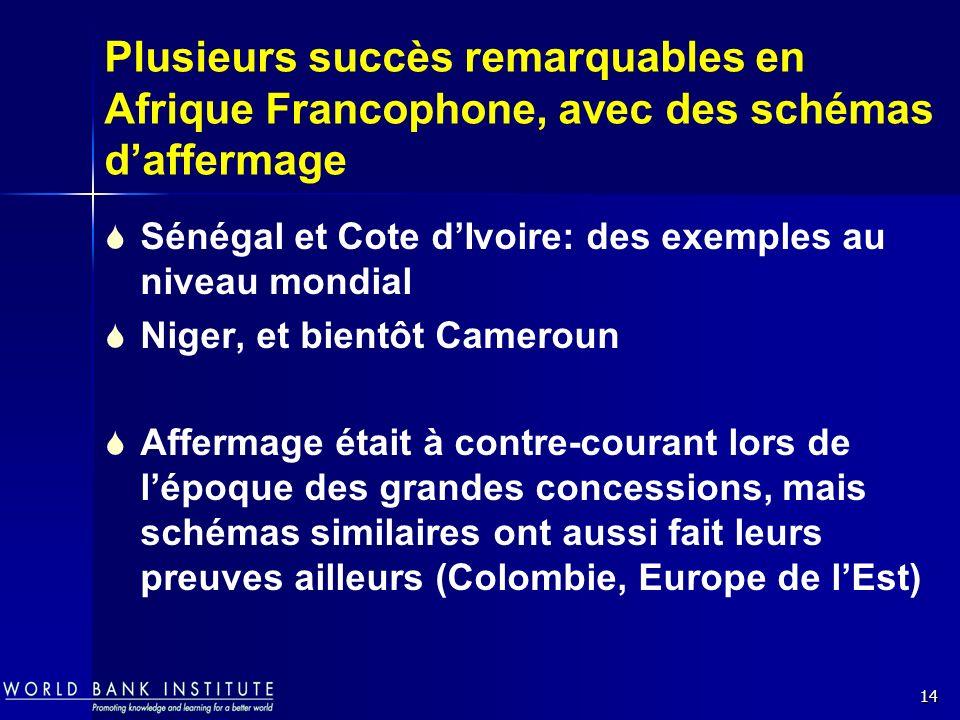 14 Plusieurs succès remarquables en Afrique Francophone, avec des schémas daffermage Sénégal et Cote dIvoire: des exemples au niveau mondial Niger, et bientôt Cameroun Affermage était à contre-courant lors de lépoque des grandes concessions, mais schémas similaires ont aussi fait leurs preuves ailleurs (Colombie, Europe de lEst)