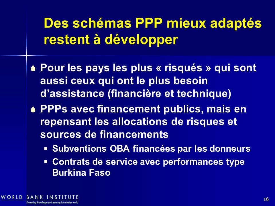 16 Des schémas PPP mieux adaptés restent à développer Pour les pays les plus « risqués » qui sont aussi ceux qui ont le plus besoin dassistance (finan