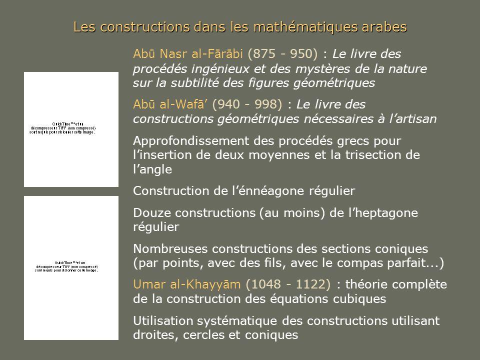 Les constructions dans les mathématiques arabes Ab ū Nasr al-F ā r ā bi (875 - 950) : Le livre des procédés ingénieux et des mystères de la nature sur