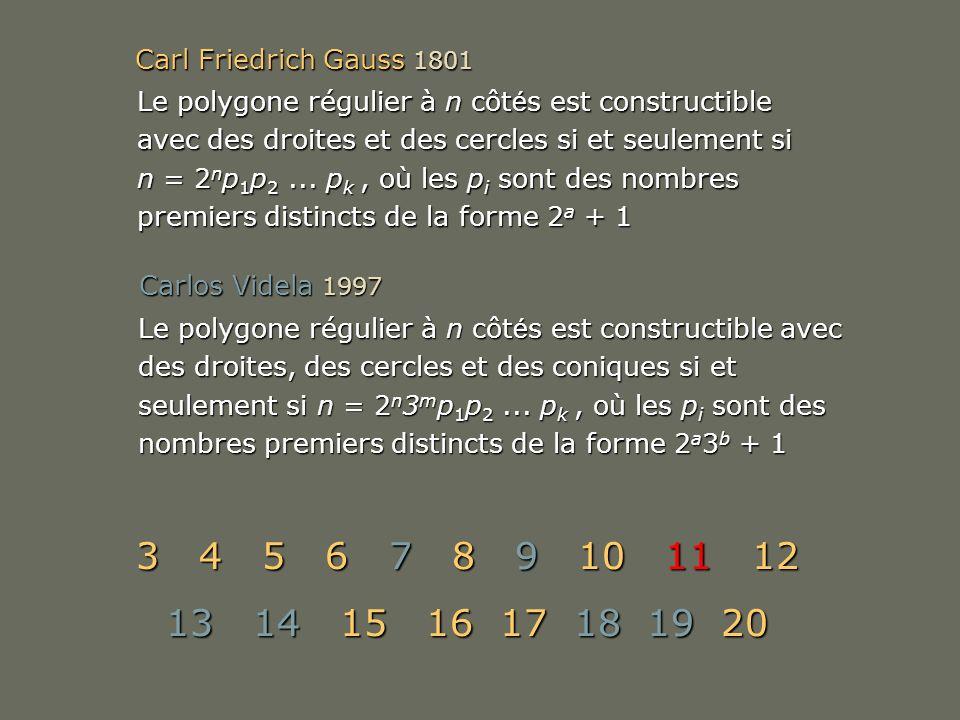 Carl Friedrich Gauss 1801 Carlos Videla 1997 Le polygone régulier à n côt é s est constructible avec des droites et des cercles si et seulement si n =
