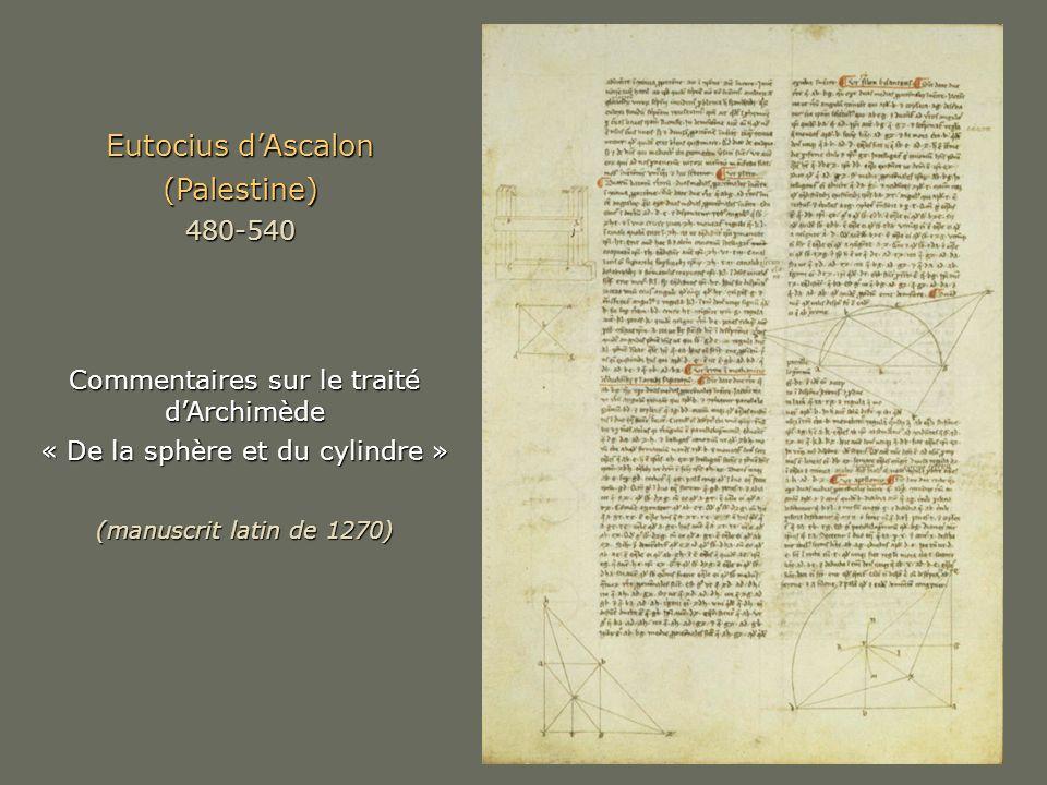 Eutocius dAscalon (Palestine)480-540 Commentaires sur le traité dArchimède « De la sphère et du cylindre » (manuscrit latin de 1270)