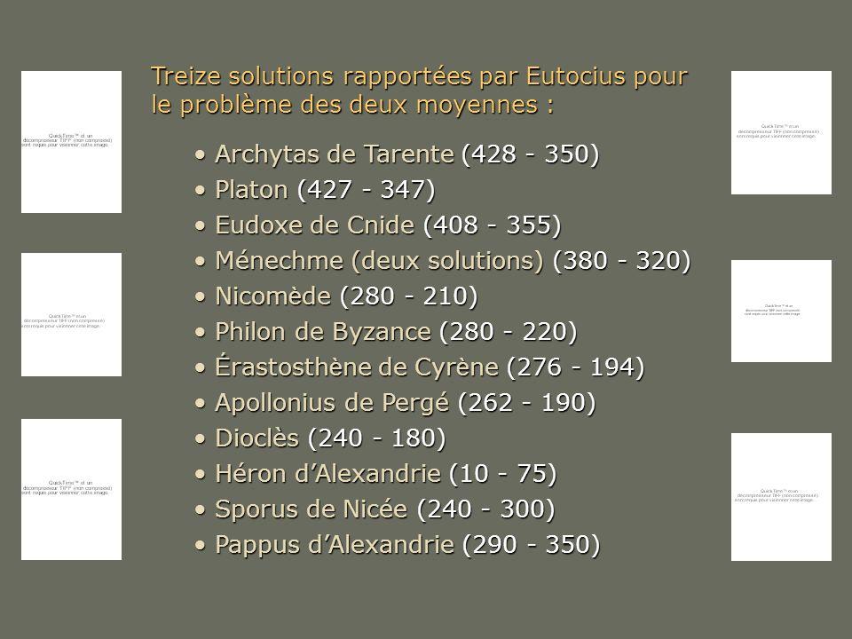 Treize solutions rapportées par Eutocius pour le problème des deux moyennes : Archytas de Tarente (428 - 350) Archytas de Tarente (428 - 350) Platon (
