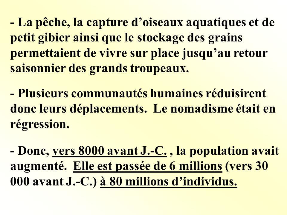 - La pêche, la capture doiseaux aquatiques et de petit gibier ainsi que le stockage des grains permettaient de vivre sur place jusquau retour saisonni