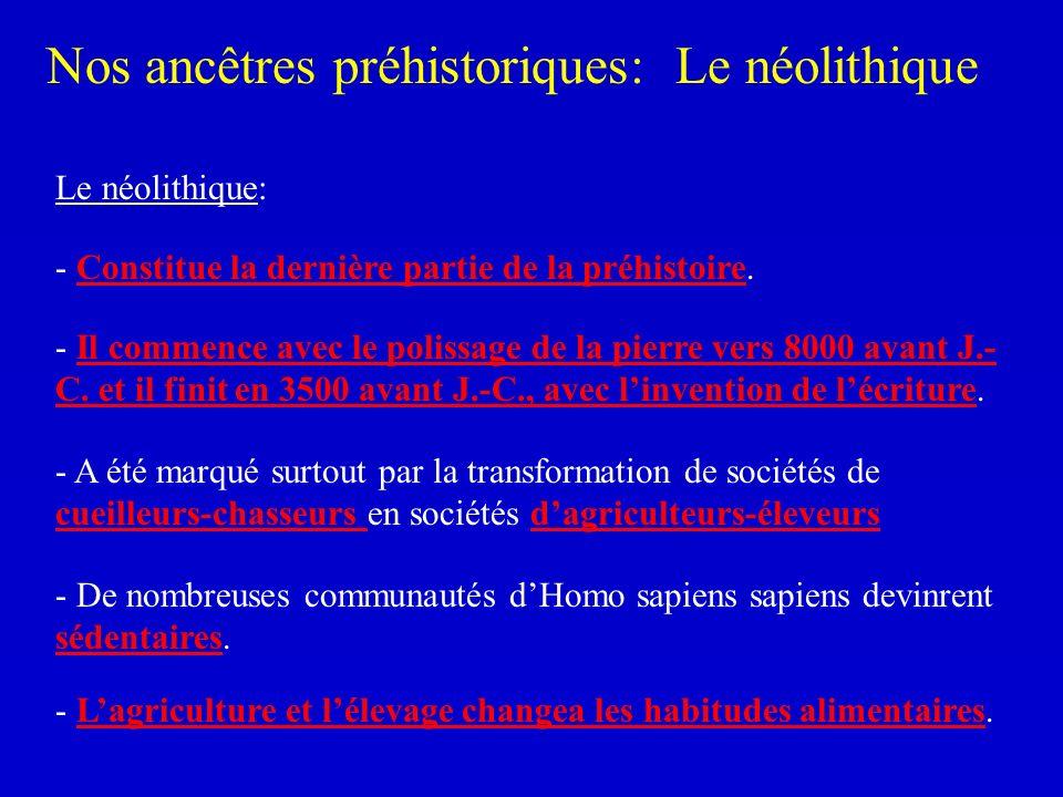 Nos ancêtres préhistoriques: Le néolithique - Constitue la dernière partie de la préhistoire. - A été marqué surtout par la transformation de sociétés