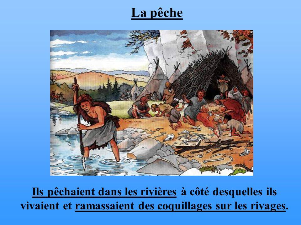 Ils pêchaient dans les rivières à côté desquelles ils vivaient et ramassaient des coquillages sur les rivages. La pêche