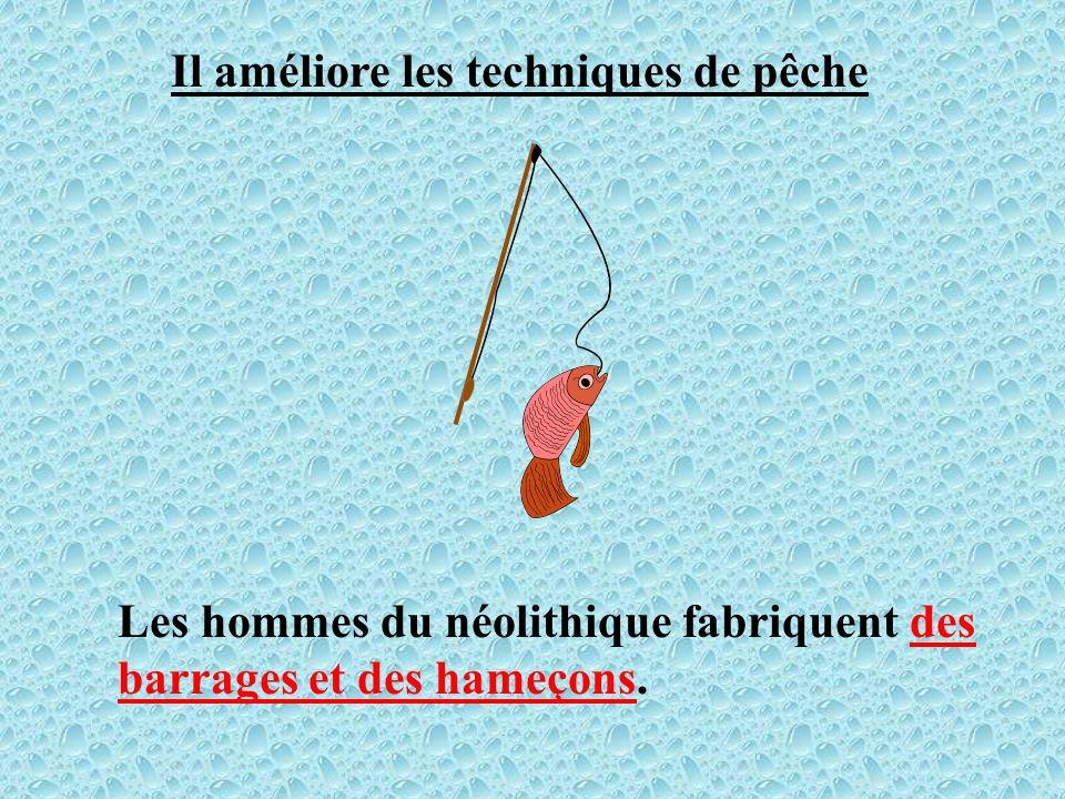 Il améliore les techniques de pêche Les hommes du néolithique fabriquent des barrages et des hameçons.