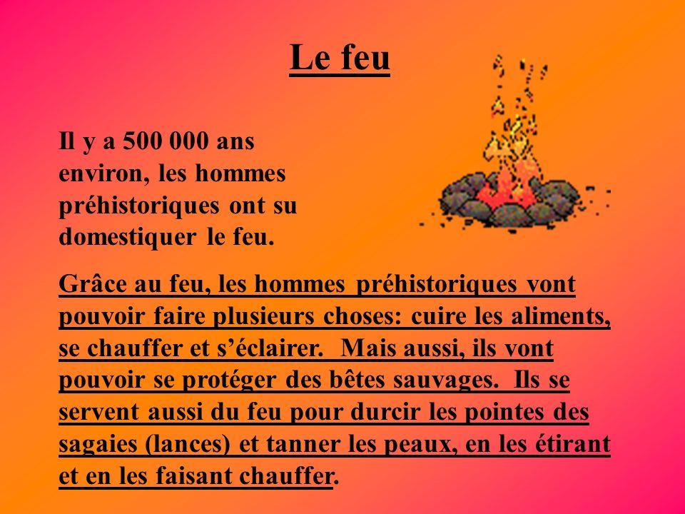 Le feu Il y a 500 000 ans environ, les hommes préhistoriques ont su domestiquer le feu. Grâce au feu, les hommes préhistoriques vont pouvoir faire plu