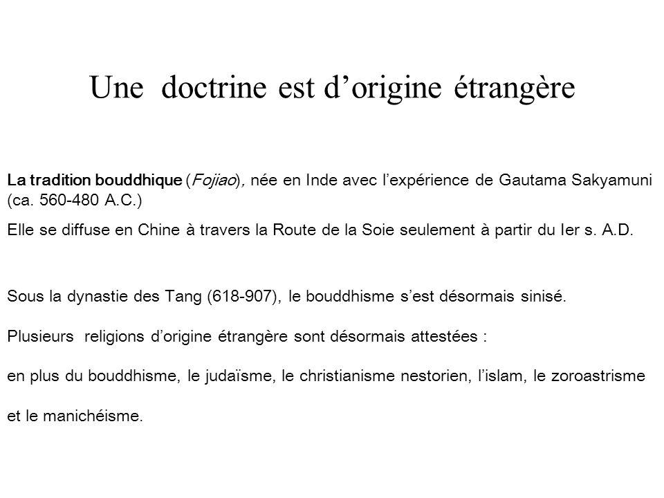 Une doctrine est dorigine étrangère Sous la dynastie des Tang (618-907), le bouddhisme sest désormais sinisé.
