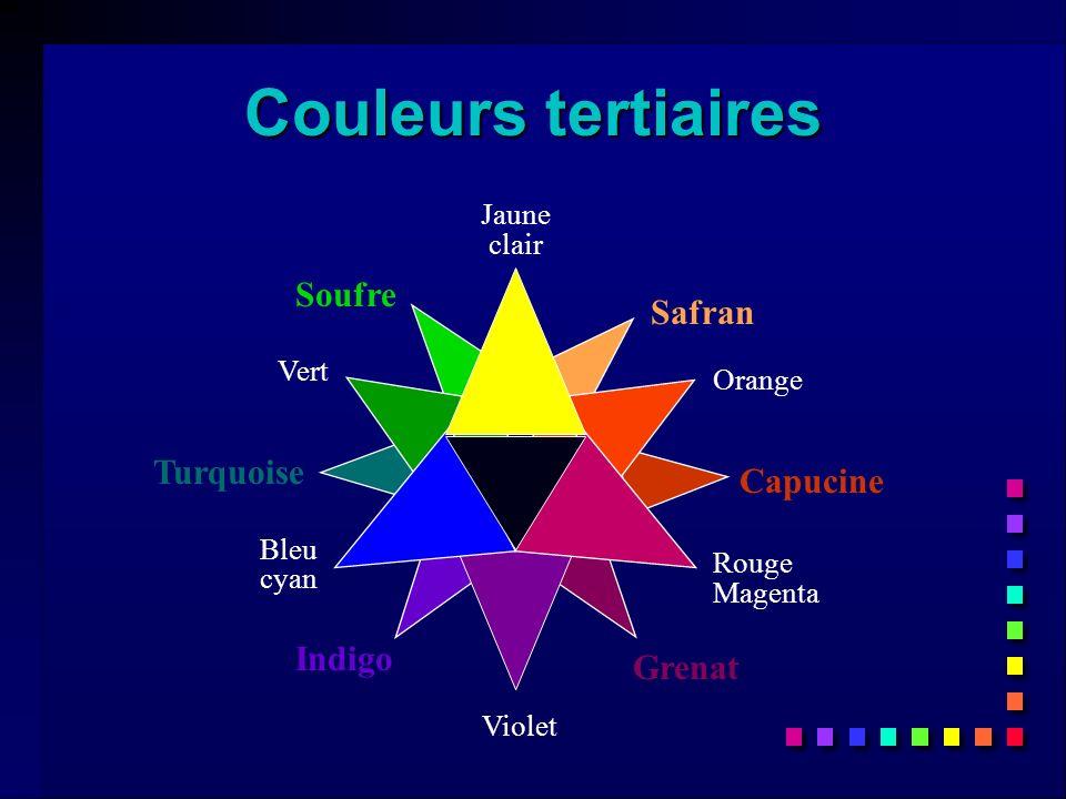 Safran Capucine Grenat Indigo Turquoise Soufre Couleurs tertiaires Jaune clair Orange Rouge Magenta Violet Bleu cyan Vert