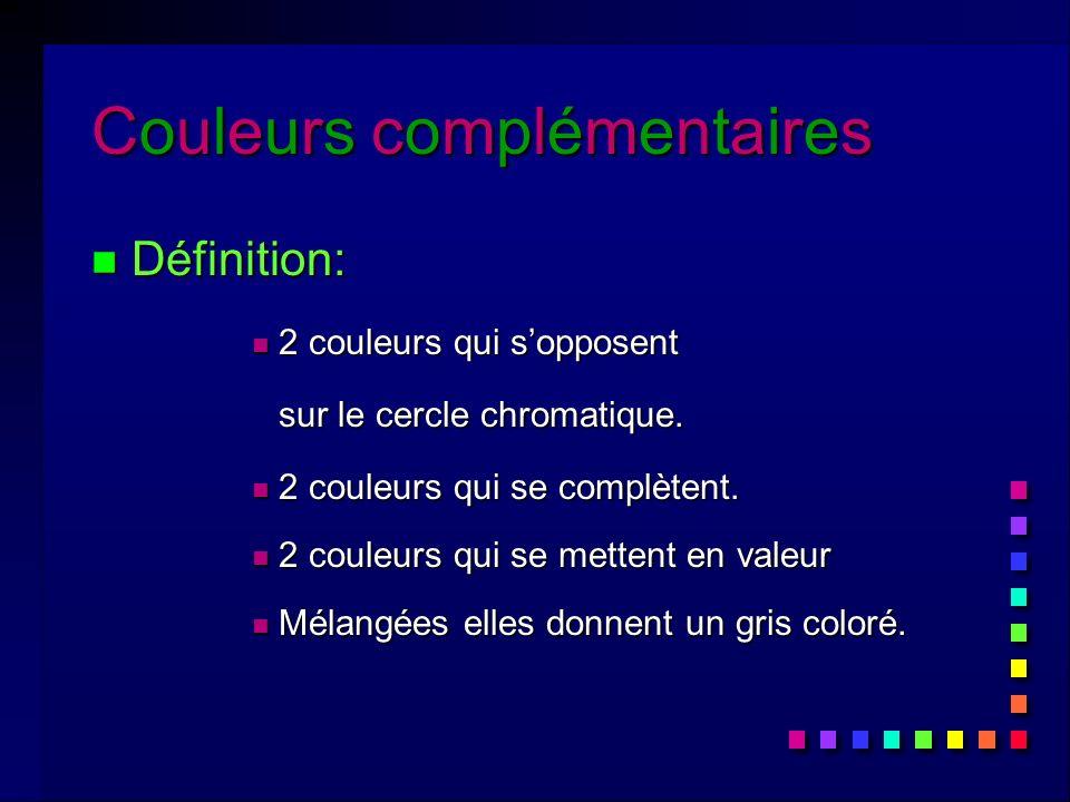 Couleurs complémentairesCouleurs complémentairesCouleurs complémentairesCouleurs complémentaires n Définition: n 2 couleurs qui sopposent sur le cercle chromatique.