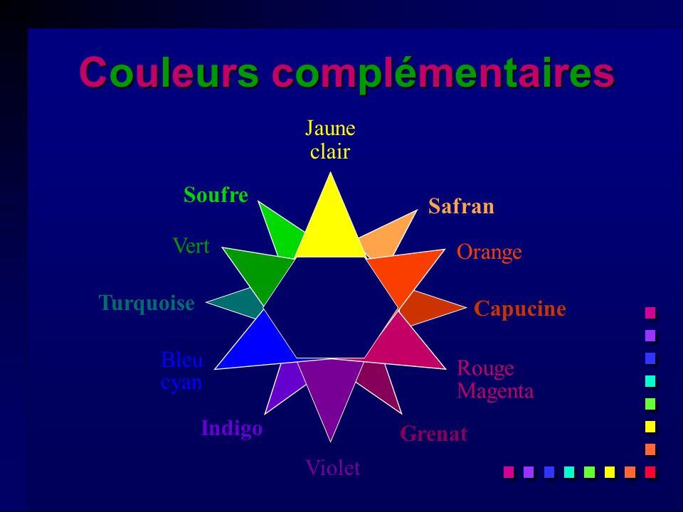 Safran Indigo Grenat Soufre Capucine Turquoise Violet Jaune clair Vert Rouge Magenta Bleu cyan Orange Couleurs complémentairesCouleurs complémentairesCouleurs complémentairesCouleurs complémentaires