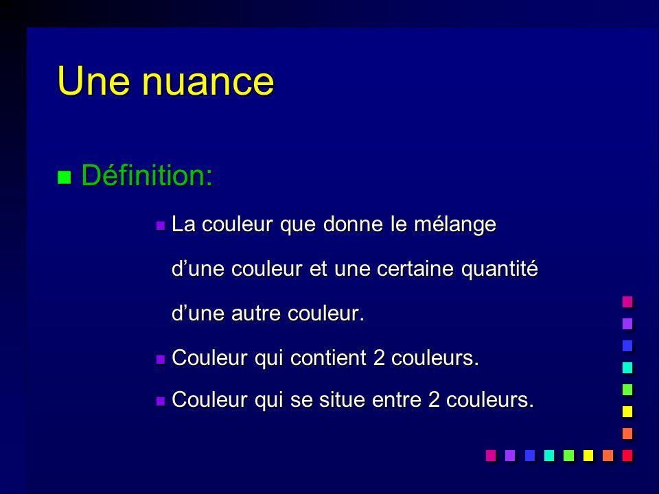Une nuance n Définition: n La couleur que donne le mélange dune couleur et une certaine quantité dune autre couleur.