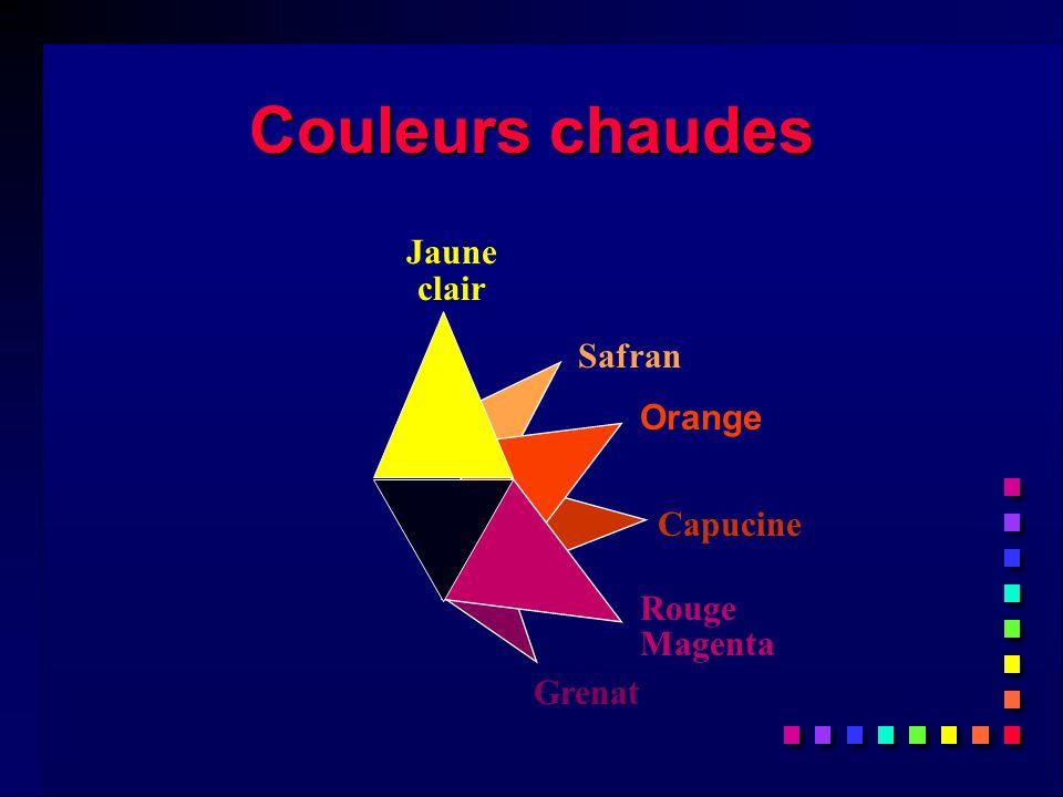 Couleurs chaudes Safran Capucine Grenat Jaune clair Rouge Magenta Orange