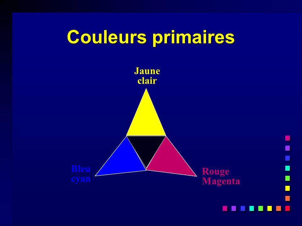 Couleurs primaires Jaune clair Rouge Magenta Bleu cyan