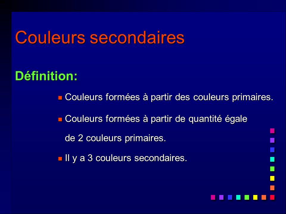 Couleurs secondaires Définition: n Couleurs formées à partir des couleurs primaires.