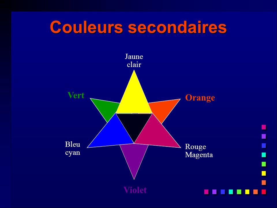 Couleurs tertiaires Définition: n Couleurs formées avec les couleurs primaires et les couleurs secondaires.