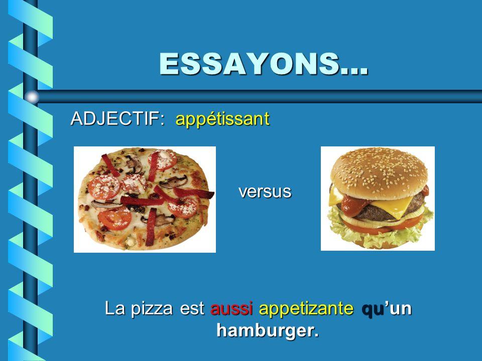 ESSAYONS... ADJECTIF: appétissant La pizza est aussi appetizante quun hamburger. versus