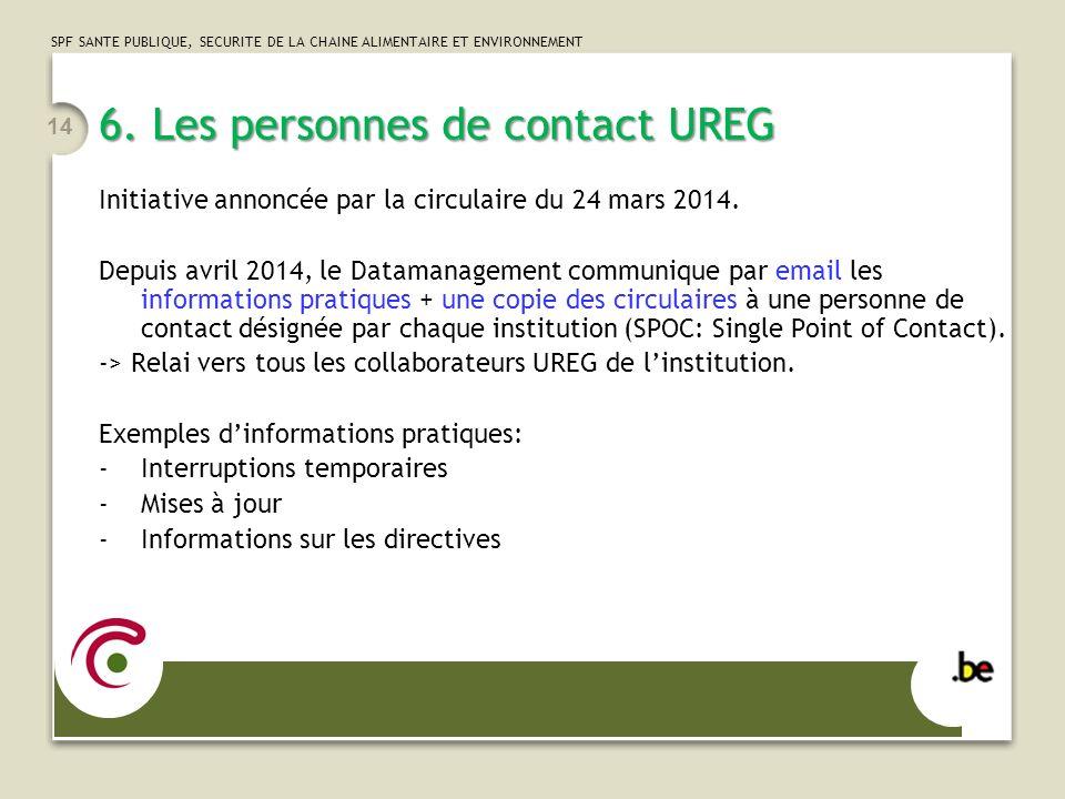 SPF SANTE PUBLIQUE, SECURITE DE LA CHAINE ALIMENTAIRE ET ENVIRONNEMENT 6. Les personnes de contact UREG Initiative annoncée par la circulaire du 24 ma