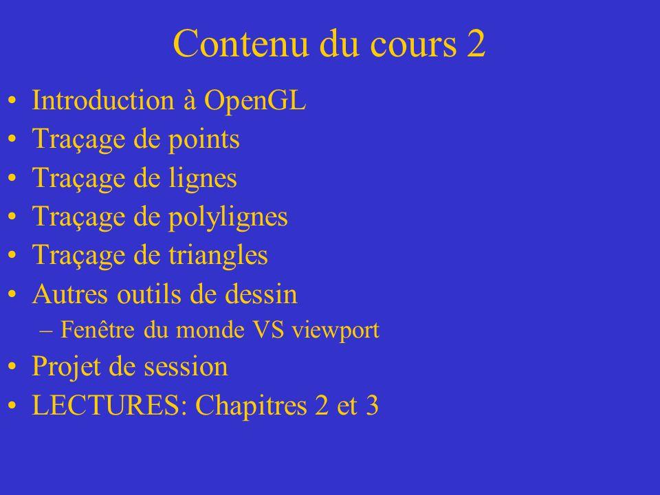 Introduction à OpenGL Voici quelques remarques sur le programme: –La fonction glOrtho() définit un volume de visualisation en 3D (viewing volume ou frustum) qui représente l espace des éléments visuels retenus pour l affichage (les éléments en dehors de cette zone ne sont pas affichés).